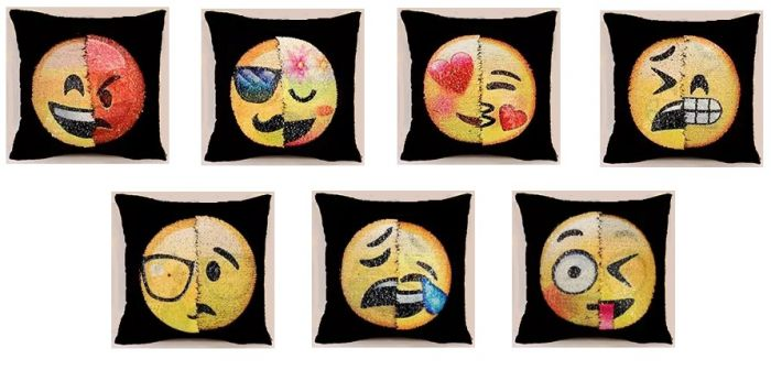 Emoji sequin pillows
