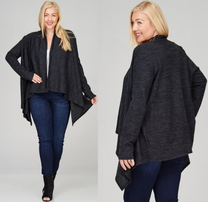 Fashion to go plus charcoal cardigan
