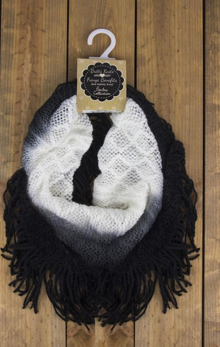 britt's knits ombre black white scarf