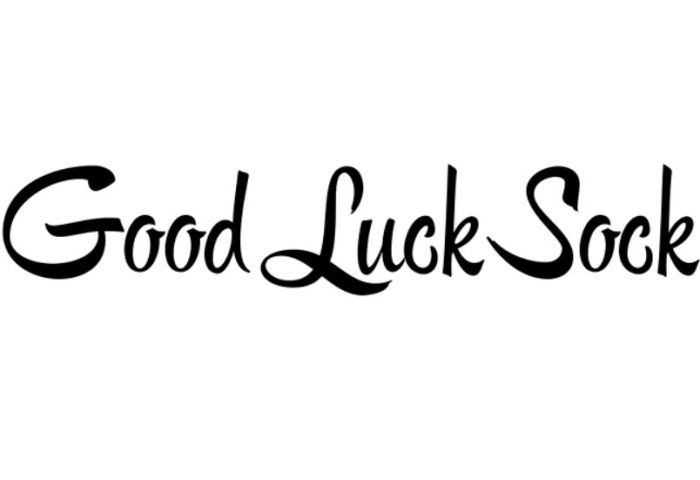 good luck sock logo white