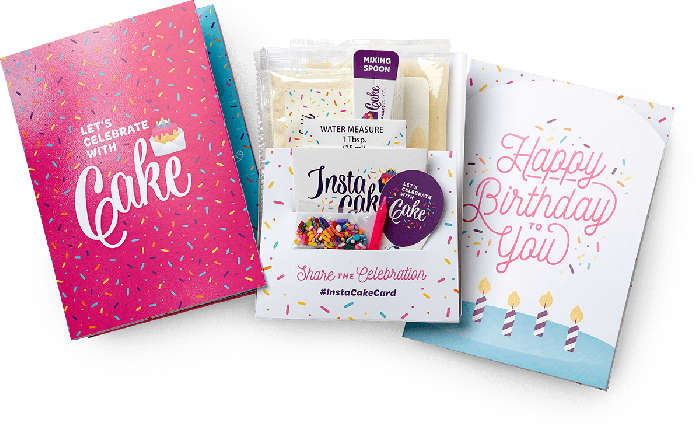 InstaCake Cards: Everything you need to celebrate with cake, in only a few minutes!