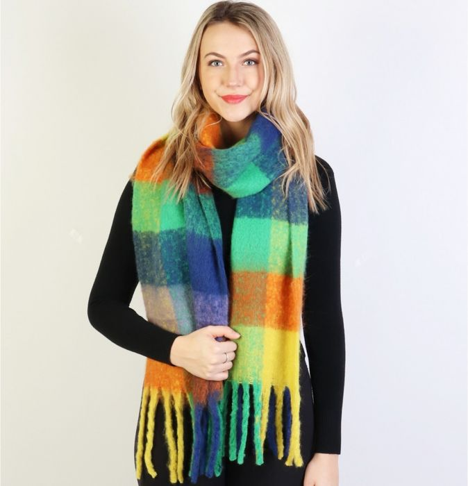 Get ready for FALL! UBER SOFT PLAID SCARVES FOR ALL!-Blue