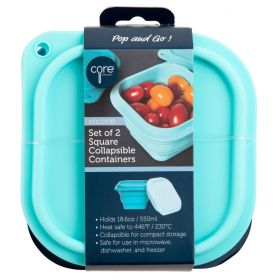Core Home Collapsible Silicone Food Container 2 pack! WITH LID!